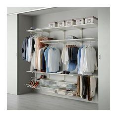 IKEA - ALGOT, Riel susp/barra/zapatero, Puedes combinar los elementos de la serie ALGOT de muchas maneras distintas según tus necesidades y el espacio de que dispongas.No necesitas ninguna herramienta: encaja los soportes en los postes de pared para colgar un estante o accesorio.También se puede utilizar en baños y otras zonas con humedad del interior.