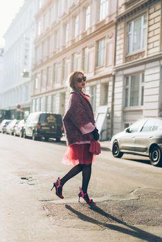 Copenhagen Fashion Week – Street style – LOUISE XIN  Prada Tweed jacket  Prada Flame Heels  Moschino bag Copenhagen Style, Copenhagen Fashion Week, Moschino Bag, Tweed Jacket, Prada, Hipster, Street Style, Heels, Jackets