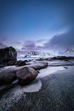 Sunset at Uttakleiv, Lofoten - The beautiful sunset at Skagsanden Beach, Lofoten, Norway, by Sebastian Holmer..