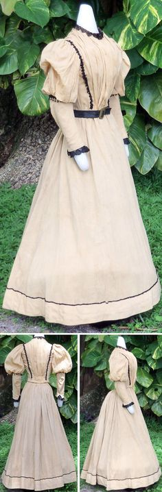 Day dress ca. 1895. Cotton gauze in yellowish color, lined with light brown cotton. Gored skirt with cartridge pleats in back. Faced & edged inside with velvet. Narrow jet trim encircles it. Bodice heavily gathered at front & back with smocking at waist. Jet trim forms braces over shoulders and under balloon puffs of sleeves. Lace trims cuffs & collar. Sadira's Vintage/ebay