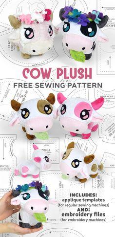 Felt Patterns Free, Plushie Patterns, Animal Sewing Patterns, Sewing Patterns Free, Free Sewing, Sewing Stuffed Animals, Stuffed Animal Patterns, Cow Pattern, Free Pattern