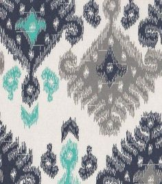 "45"" Home Essentials Fabric- Ikat Navy & Turquoise $6.99"