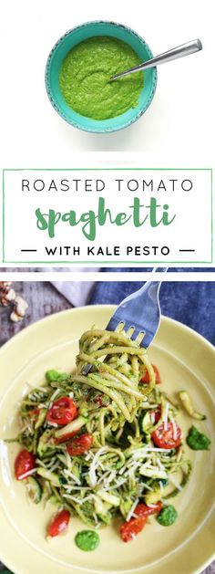 Superfood kale pesto and whole wheat spaghetti get tossed with oven-roasted tomatoes, zucchini, Parmesan, and basil for a delicious vegetarian dinner.