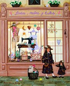 Argentina ~ Maria Laura Bratoz ~ Ribbons, Buttons and Bows ~ Sewing Shoppe House Illustration, Illustrations, Pictures To Draw, Art Pictures, Images Vintage, Sewing Art, Naive Art, Cute Art, Folk Art
