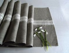 Linen Table Runner with French Lace. Gray Table Runner. by byAneri, $35.00