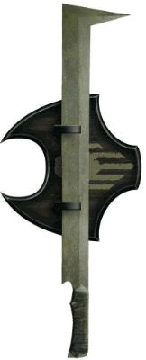 """Uruk-Hai Scimitar:  Nahh mate thats a falchion if ever I saw one. You wouldn't get some moistened bint lobbing that at the once and future king would you?  Uruk hai=new and improved orcs the most effective fighting force Middle Earth has ever seen and you arm them with this travesty? Even a nine year old knows """"Stick them with the pointy end""""."""