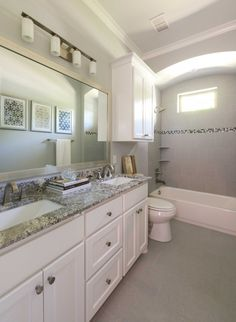 Village Park Eco Home Transitional Bathroom, Transitional Decor, Grey Countertops, Granite, American Home Design, Large Framed Mirrors, Bathroom Renovations, Basement Remodeling, Bathroom Ideas