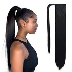 SEIKEA Clip in Ponytail Extension Wrap Around Long Straight Hair Extension 20 Inch Synthetic Hairpiece - Black - Hair Strategy Clip In Ponytail Extensions, Hair Extensions For Short Hair, Synthetic Hair Extensions, Ponytail Hairstyles, Straight Hairstyles, Long To Short Hair, Blowout Hair, Long Ponytails, Straight Ponytail