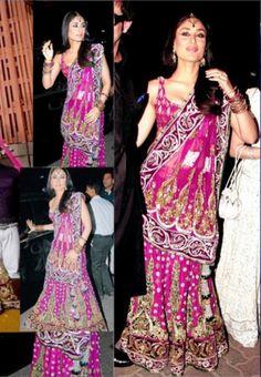 Kareena Kapoor in Pink Lehenga Saree at Amrita Arora's Wedding