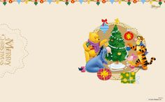 Winnie the Pooh wallpaper Christmas with friends