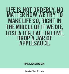 Natalie Goldberg picture quotes - Life is not orderly. no matter how we try to make life so, right.. - Life quotes