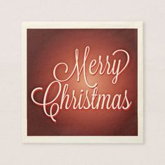 Merry Christmas Cursive on Maroon Background Paper Napkin