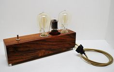 The Menlo Park Lamp- Dual Edison in East Indian Rosewood w/ Vintage Power Tube