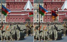 Con fines propagandistas, el Ministerio de Defensa de Azerbaiyán ha manipulado una fotografía del desfile de la victoria de este fin de semana en Moscú para eliminar la bandera armenia de una fotografía.