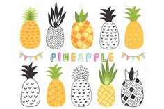 Tropical Pineapple Set by YenzArtHaut on Business Illustration, Pencil Illustration, Graphic Illustration, Cupcake Toppers Free, Logo Sticker, Creative Sketches, Paint Markers, Web Banner, Business Card Logo