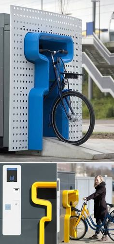 Bike vending machine, actually you rent it and return it to any machine, like redbox for bicycles