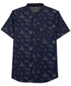 Men's Star Wars Mechanical Print Short-Sleeve Shirt