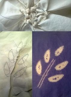 Experiments with maki-age shibori. Bottom left shows outline stitching of design, at the top the fabric pulled up before dyeing and unpicked after dyeing the finished design of stem and leaves. Work by Annabel Wilson of Townhill Studio.