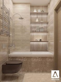 Tiny Bathroom Tub Shower Combo Remodeling Ideas 46 - Home Decor Design Bathroom Design Small, Bathroom Interior Design, Modern Bathroom, Bathroom Designs, Brown Bathroom, Interior Ideas, Bath Design, Classic Bathroom, Shower Designs