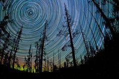 This spectacular image was shot on Blackcomb Mountain in British Columbia in Canada. To get the shot, photographer Kim Eijdenberg needed a night with completely clear skies and no moon. The exposure needed to stay open all night!
