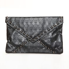 Black Hip to Chic Embossed Skull Clutch - Accessory Fanatic