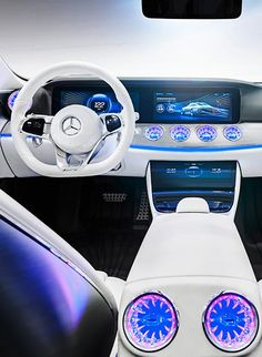 "Mercedes-Benz reveals the Intelligent Aerodynamic Automobile, the ""Concept IAA."" The interior combines stylish sportiness with modern luxury and continues the design line of the S-Class and S-Class Coupé."