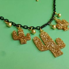Gold glitter cactus necklace, , Necklace, Bow & Crossbones, Bow &…