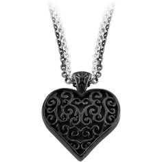 Black Titanium and Sterling Silver Necklace ❤ liked on Polyvore featuring jewelry, necklaces, accessories, colares, black, black jewelry, titanium necklace, black jet necklace, kohl jewelry and sterling silver jewellery