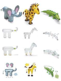 Bichinhos de garrafa pet :) / zoo animals made out of recicled bottles