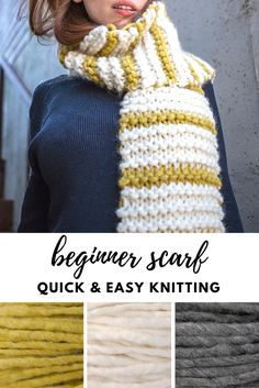 d87922fda34361 Keiko is a quick and easy scarf - beginner knitting pattern! Easy Knitting  Projects