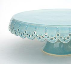 small cake stand - azure lace