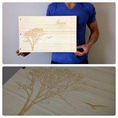 Custom interior design portfolio book with engraving treatment on bamboo by kloportfolios.com