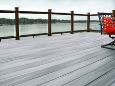 Horizon decking in Greystone with black Mission rail and clear ClearVisionSystem Deck Design, Tool Design, Deck Colors, Deck Builders, Deck Railings, Composite Decking, Building A Deck, Hobby Farms, Outdoor Living