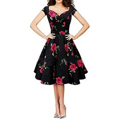 8efddaba89a rosepetalsviolet Women Vintage 50s Dress Swing Retro Rose Floral Ball Gow  Party Plus Size Red Rose XXXL