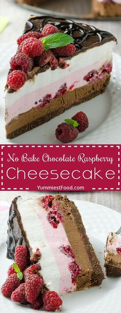 No Bake Chocolate Raspberry Cheesecake – very nice combination of raspberries, chocolate and cheese! So smooth, creamy and moist! An easy recipe that is great option for these warm summer days! (Cheesecake Recipes No Bake) No Bake Desserts, Delicious Desserts, Dessert Recipes, Yummy Food, Baking Desserts, Easy Desserts, Weight Watcher Desserts, Chocolate Raspberry Cheesecake, Low Carb Dessert