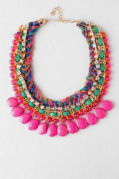 "Bask in the warm sun with Playa del Carmen Teardrop Necklace. Vibrant teardrop stones hang beneath a colorful braided chain adorned with rhinestones & faceted beads. Finished with a lobster claw clasp. <ul> <li> 16"" length</li> <li> 3"" extension</li> <li> Lead & nickel free</li> <li> Imported</li> </ul>"