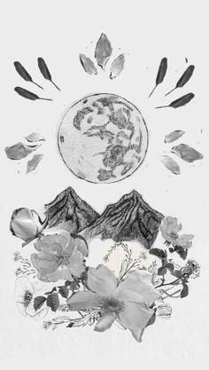 Moon, mandala, mountains, the roses Denali picked, yarrow, forget me nots