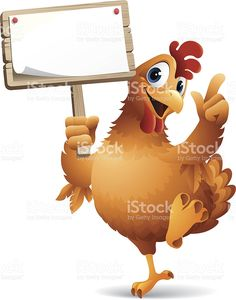 Cartoon graphics of chicken holding sign royalty-free stock vector art