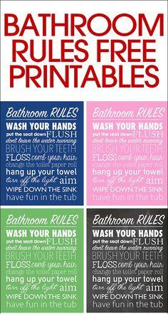 bathroom rules free printable - Free Printable Bathroom Art