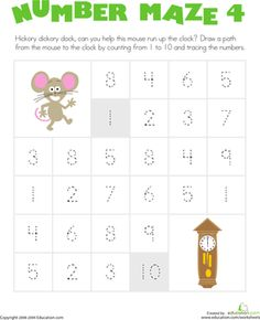 Kindergarten Writing Numbers Counting & Numbers Worksheets: Number Maze: Help the Mouse!