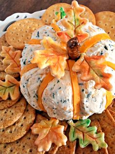 Cheddar & Chive Pumpkin Shaped Cheese Ball - Beautiful presentation and simple! Thanksgiving is almost here! I have the most adorable cheese ball to share. It is pumpkin shaped, but there is no actual pumpkin in it. It is a deli… Thanksgiving Appetizers, Thanksgiving Recipes, Fall Recipes, Holiday Recipes, Appetizers For Fall, Wedding Appetizers, Thanksgiving Decorations, Thanksgiving Quotes, Thanksgiving Parties