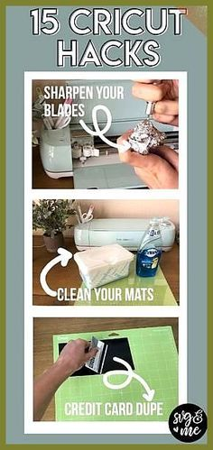 """You'll be thinking, """"Why didn't I think of that?"""" after reading this list of genius cricut hacks for your cutting machine including how to clean your mats, sharpen blades, and tips and tricks on how to weed. Every Cricut beginner needs to read these! Cricut Mat, Cricut Help, Cricut Craft Room, Cricut Fonts, Cricut Air 2, Cricut Stencils, Cricut Monogram, Cricut Cards, Inkscape Tutorials"""