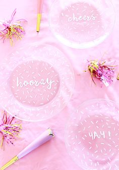 Fun + modern bridal shower plates - DIY painted confetti plates {Courtesy of A Bubbly Life}