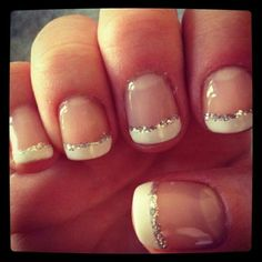 French manucure, french nails, french manicure with glitter, nails with whi French Nails, French Pedicure, French Manicure With Glitter, French Manicure With A Twist, French Polish, Cute Nails, Pretty Nails, Classy Nails, Nail Arts