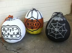 DIY Decorated Pumpkins with glitter, paint, and ribbon