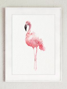 Pink Flamingo Set 3 Art Prints Flamingoes by ColorWatercolor