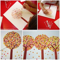 Pintar un árbol con bastoncillos, divertido y ayuda a la pinza fina!