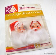 Vintage Santa Claus Heads, Package Decoration, F. W. Woolworth, Christmas Decorations, Holiday Decor, New Old Stock, Made in Japan (665-15) by VintageTinsel on Etsy