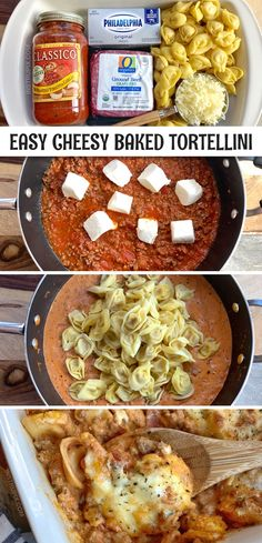 Easy Cheesy Baked Tortellini (With Meat Sauce) - Instrupix . Easy Cheesy Baked Tortellini (With Meat Sauce) - Instrupix recipes beef recipes for kids Tortellini Bake, Baked Cheese Tortellini, Baked Tortellini Recipes, Pasta Recipes, Chicken Recipes, Chicken Tortellini, Sauce Recipes, Crock Pot Recipes, Cheap Casserole Recipes
