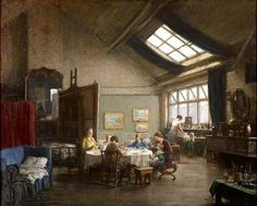 """Refugees in my Studio"" by  Fredrick William Elwell, 1940, painted during the bombing of Britain. The good times don't last forever, but Elwell carries on, documenting the difficult periods as well as he did the heady 1920s, when he was painting the interiors of grand country estates & genteel London townhouses. We can all take a lesson. As Winston Churchill said. ""When you're going through hell, just keep going."""